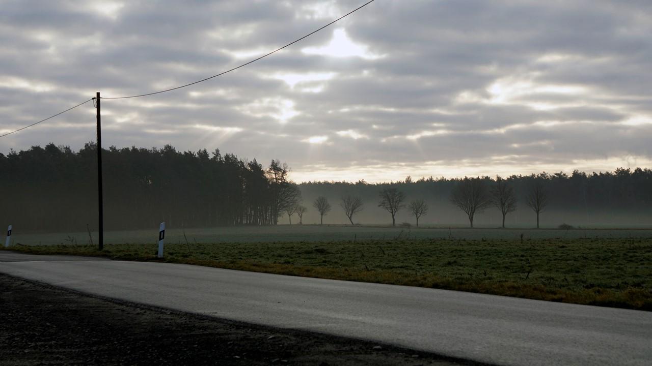 Straße in der Lausitz mit wolkigem Horizont.